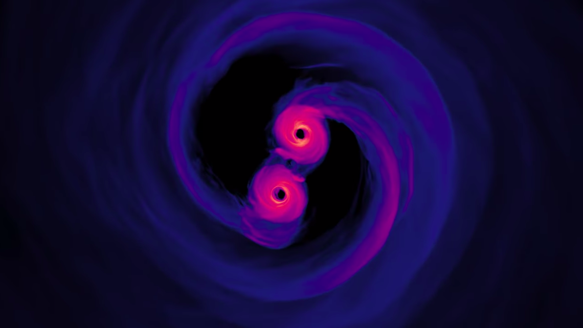 Simulation Reveals Spiraling Supermassive Black Holes