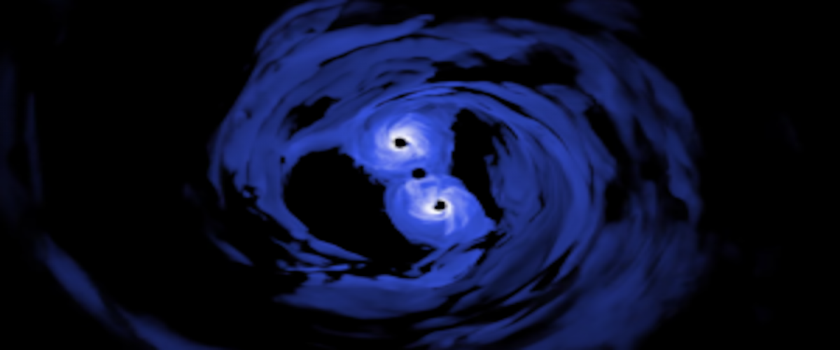 Simulation reveals spiraling supermassive black holes. Image courtesy of NASA.