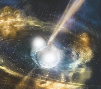 Artist's illustration of two merging neutron stars. The rippling space-time grid represents gravitational waves that travel out from the collision, while the narrow beams show the bursts of gamma rays that are shot out just seconds after the gravitational waves. Swirling clouds of material ejected from the merging stars are also depicted. The clouds glow with visible and other wavelengths of light.  Credit: NSF/LIGO/Sonoma State University/A. Simonnet